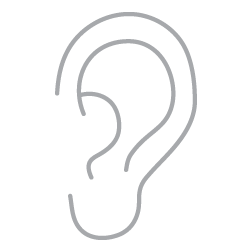 hearing loss icon in gray