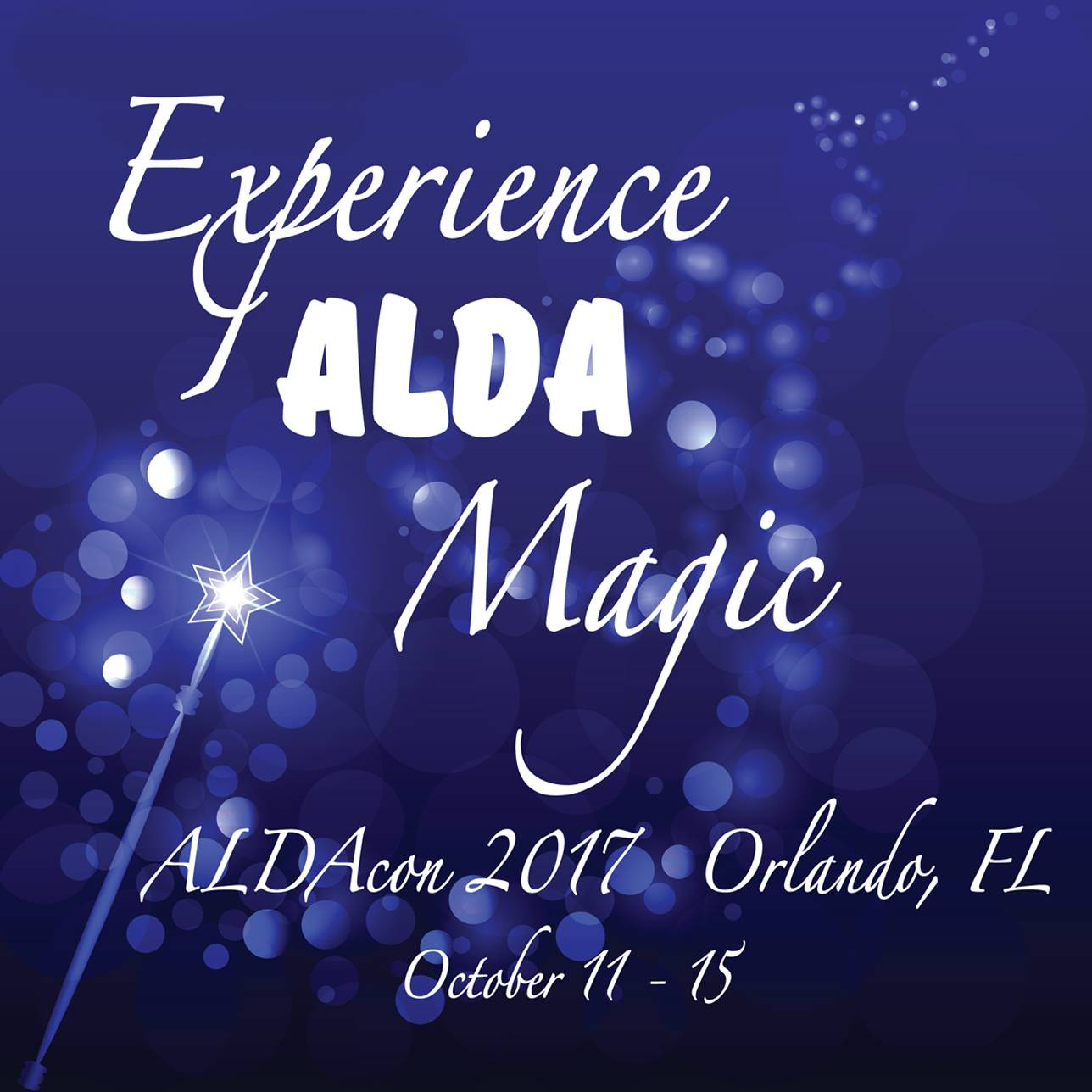 Experience ALDA Magic... ALDAcon 2017 on blue background